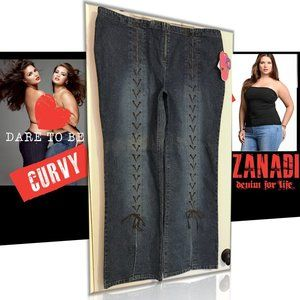 ZANA DI Plus Size Lace Up Flare Denim VINTAGE -NWT
